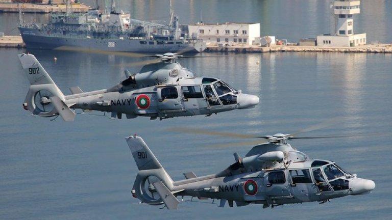 AS 565MB Panther Авиацията на българските ВМС има на въоръжение три вертолета AS 565MB Panther, които бяха получени през 2011 г. Те могат да изпълняват широк кръг задачи, включително по превоз на пътници, задачи по търсене и спасяване, морско патрулиране и други. Машините могат да се базират на кораби.