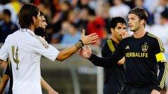 Дейвид Бекъм се поздравява с бившия си съотборник в Реал Серхио Рамос