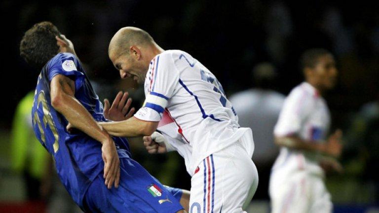 Французинът полудя и удари с глава в гърдите Матераци.