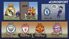 Така остроумната четка на ZEZO CARTOONS видя осминафиналите в Шампионската лига.
