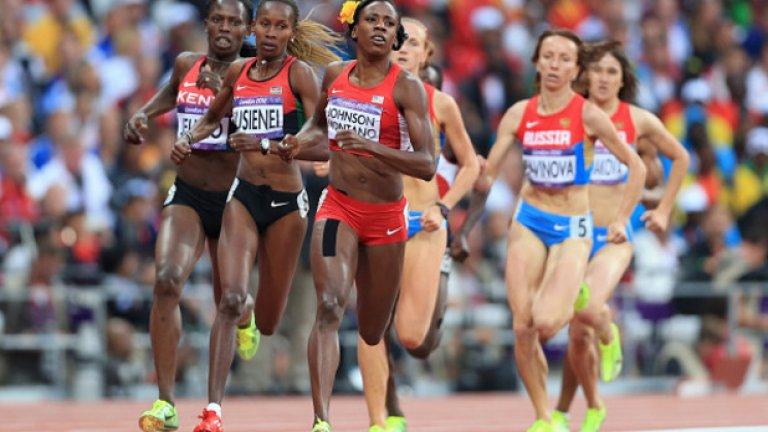 По време на Олимпиадата в Лондон Монтаньо води в състезанието на 800 м...