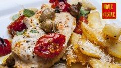 Пилешко филе с чери домати и гъби