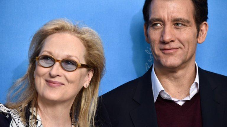 Мерил Стрийп даде началото на първият от големите международни кинофестивали за годината - Берлинале 2016-та.   На снимката: Председателят на журито Мерил Стрийп с актьора Клайв Оуен, който е член на седемчленното жури на Берлинале