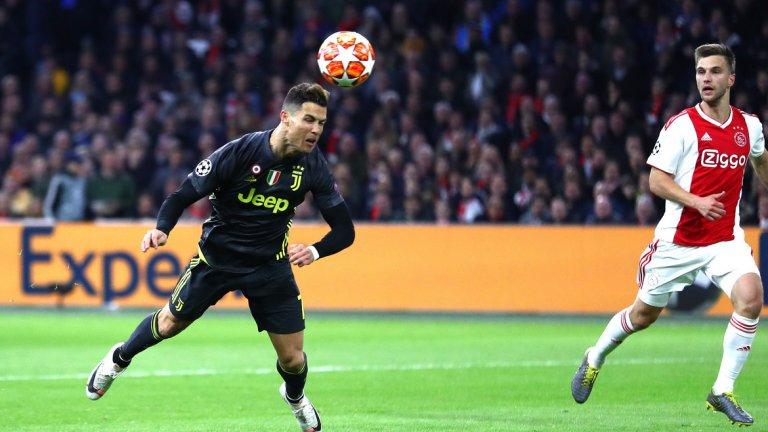 Роналдо не пропусна да запише дежурния си гол в Лигата, но Аякс изравни веднага след почивката и всичко ще се решава на реванша