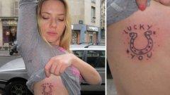 Скарлет Йохансон се сдоби с късметлийска татуировка през 2012 г. (ГАЛЕРИЯ)