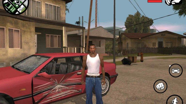 Поредицата Grand Theft Auto (iOS/Android)  За компания, известна с високобюджетните си проекти и екстравагантни игри с огромни светове, Rockstar Games поддържа изненадващо добре мобилния гейминг. Тук може да откриете практически всички класически заглавия от поредицата Grand Theft Auto, при това оптимизирани доста добре. От основната серия са налични Grand Theft Auto III, Vice City и San Andreas. Някога геймърите се чудеха дали PlayStation 2 може да подкара San Andreas, а днес е възможно да я играете дори на скромния iPhone 4S.   Но това не е всичко - може да свалите още DS/PSP класиката Grand Theft Auto: Chinatown Wars, както и PSP ексклузива Grand Theft Auto: Liberty City Stories. Оставяйки носталгията настрана за миг, San Andreas е най-мащабната и богата откъм съдържание игра, докато Chinatown Wars и Liberty City Stories са пригодени най-добре за тъчскрийн управление.