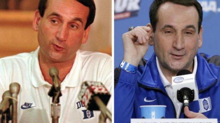 Майк Кжижевски - 1995 и 2015-а. Наричат го Коуч Кей, а в баскетбола има много малко икони с неговия статут. 20 години разлика в двете снимки, но - личат ли му?