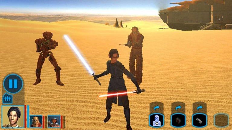 """Star Wars: Knights of the Old Republic (iOS/Android)  През годините сме видели не една или две посредствени игри, посветени на незабравимата вселена на """"Междузвездни войни"""", но Star Wars: Knights of the Old Republic е нещо различно. Създадена от майсторите на ролевата игра BioWare, тя е своеобразен предшественик на тяхната трилогия Mass Effect и покана за епична космическа разходка в онази далечна галактика.  Играта има почти походова бойна система, която я прави много по-лесна за управление на мобилно устройство. Knights of the Old Republic е динамично заглавие с десетки часове геймплей и невероятно завладяваща история. Ако до момента не сте имали шанса да го изиграете, със сигурност ще се сблъскате с поне един-два обрата в сюжета, които да ви накарат да изпуснете таблета или телефона."""
