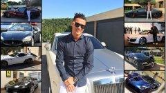 Португалецът се похвали и с нова придобивка - отново си има червено Ferrari. Разгледайте луксозните автомобили на португалската суперзвезда в галерията.