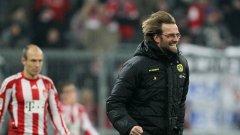 Клоп ликува при една от победите си срещу Байерн Мюнхен. По-късно обаче победният гол на Ариен Робен му отне мечтата във финала на Шампионската лига