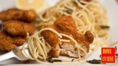 Пиле пармезан с паста