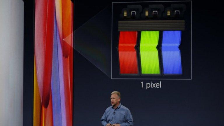 Екранът използва технологията Retina, като този път дисплеят е 12 инча и е с резолюция 2304х1440 px.