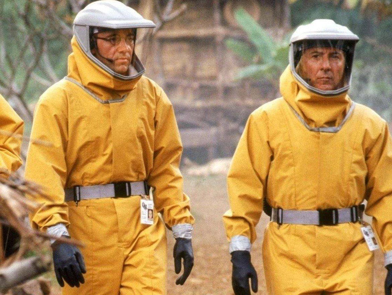 """Outbreak / """"Зараза"""" (1995 г.)  Филмът на Волфганг Петерсен може да зарази вниманието ви със солидния си актьорски състав - Дъстин Хофман, Рене Русо, Морган Фрийман, Доналд Съдърланд и Кевин Спейси. Историята разказва за разпространението на вирус с името """"мотаба"""", много подобен на ебола. Той е открит в африканските джунгли още през 60-те, но не е спрян навреме. Почти 30 години по-късно заразата плъзва из Заир, а впоследствие - и в САЩ."""