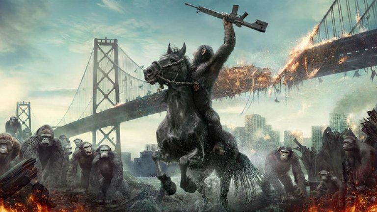 """""""Войната на планетата на маймуните"""" / War for the Planet of the Apes (14 юли)   Филмът продължава историята оттам, където приключи """"Зората на планетата на маймуните"""" - мрачно предзнаменование на огромния конфликт, назряващ между генетично-подобрените примати и човешката популация, опустошена от вируса Simian Flu. Анди Съркис отново влиза в ролята на предводителя на маймуните, Стийв Зан и Уди Харелсън също влизат в продукцията."""