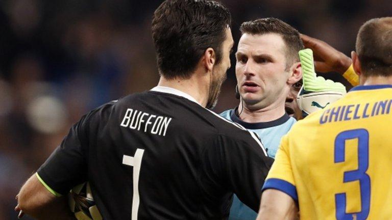 Буфон бе изгонен в реванша от 1/4-финалите на Шампионската лига срещу Реал Мадрид (3:1), след като нападна словесно главния съдия на мача Майкъл Оливър.