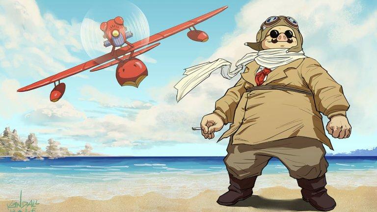 """""""Порко Росо"""" Поредният летящ герой на Миядзаки - Порко Росо е авиационен ас от Първата световна война, който сега се изхранва като ловец на глави. Само че в него има нещо специално - проклятие го е превърнало от човек в полупрасе. Със самолета си той обикаля Средиземноморието, биейки се с пирати и търсейки избавление за предишните си грехове. Анимацията е интересен ноар, който поглежда към сериозни теми като фашизма, рецесията, нараненото приятелство и сляпата любов, но през погледа на детската анимация."""