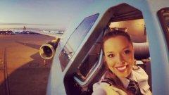 Привлекателната бразилка Лариса Бернардо пилотира със здрава ръка гигантът  Airbus A330.