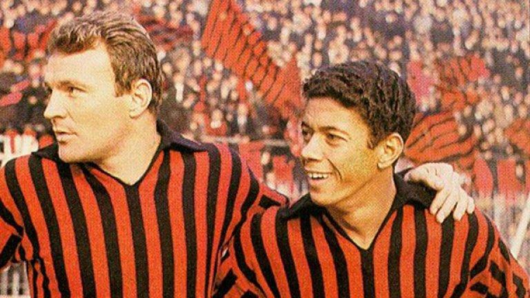 12. Жозе Алтафини (вляво) 7 сезона, 161 гола, две шампионски титли е КЕШ през 1963-та. Алтафини бележи и двата гола на финала срещу Бенфика, след като Еузебио извежда португалците напред в резултата.
