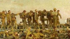 """Химическите оръжия са отвратителни от морална гледна точка, но освен това не са ефективни.  Kартината """"Обгазени"""" на Джон Сингър Сарджънт показва редица от войници, заслепени от газа, които се олюляват напред в подобие на религиозно шествие..."""