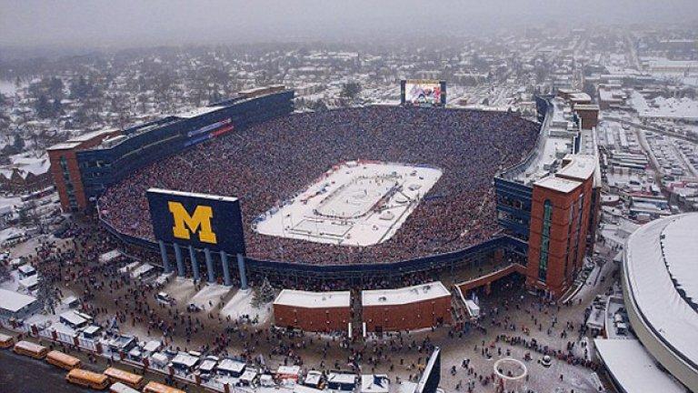 Третият най-голям стадион в света прие хокейното шоу, което счупи рекорд за мач в този спорт. Предишното най-добро постижение пак бе на тази арена, но в двубой на тимове извън НХЛ.
