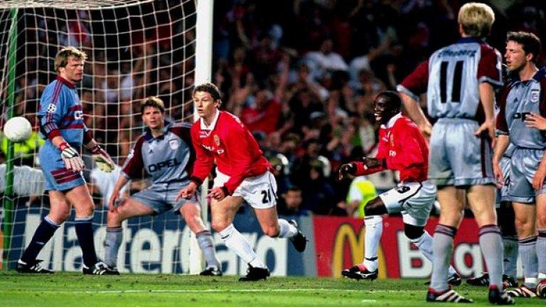 Миг преди убиецът с бебешкото лице Оле Гунар Солскяер да вкара гола за прочутата победа на Манчестър Юнайтед над Байерн на финала през 1999 г.