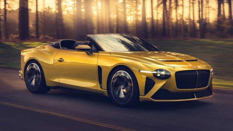Bentley Mulliner Bacalar   Всичко в тази кола трябва да крещи за лукс - от златистия цвят, през характерната за Bentley агресивна предна решетка до интериорът от черна кожа със златисти шевове. Дървото, което е използвано за предното табло, е на над 5000 години. Bacalar е сред най-ексклузивните и скъпи автомобили, които ще се появят на пазара през следващите 12-13 месеца.  От него ще бъдат произведени едва 12 бройки, всяка от които ще струва по 1,9 млн. долара. Bacalar има 650 конски сили и 12-цилиндров двигател, който не се затруднява да вдигне до 320 км/час. Въпреки че тези показатели са живият кошмар за хора като Грета Тунберг, от Bentley казват, че колата е изработена с мисъл за природата.  Жълтата боя например е пигментирана с пепел от оризови обвивки, 5000-годишното дърво е паднало по естествен път... Всичко друго обаче е крайно не-веган и е предназначено за хората, които предпочитат полетите с частен самолет и колите без покрив.