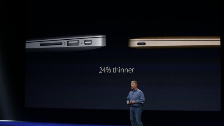 Благодарение на клавиатурата, дисплея, липсата на вентилатор и начина, по който са разположени батериите, новият Macbook е едва 13.1 мм. Можете да го видите сравнен с Macbook Air, който на представянето си през 2008 година беше рекламиран с това, че може да се побере в обикновен пощенски А4 плик