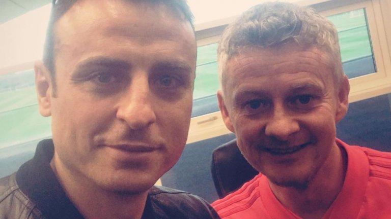 Тази седмица Бербатов беше в клубната база на Юнайтед и успя да поговори със Солскяер и да се снима с него