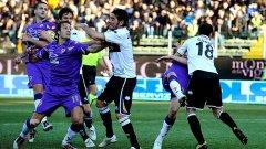 В последния мач между Фиорентина и Парма, завършил 1:1, се стигна до масов бой между футболистите
