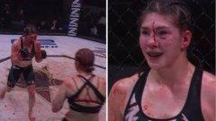 Този ММА двубой заприлича на хорър филм с цялата кръв по ринга