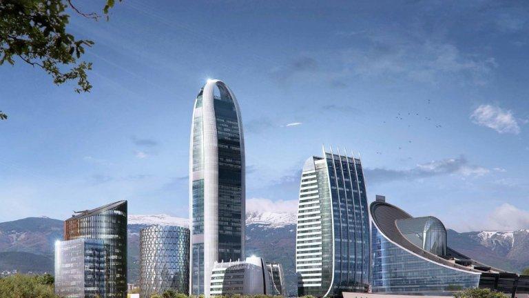"""Sky Fort - 202 метра, 47 етажа, незавършен Когато бъде завършена през 2019-2020-та година, сградата по проект на """"AA Architects"""" ще е най-високата изобщо в страната. Тя ще бъде втората от планираните три сгради от многофункционалния комплекс Sofia Capital City в района край """"Цариградско шосе"""" в София."""