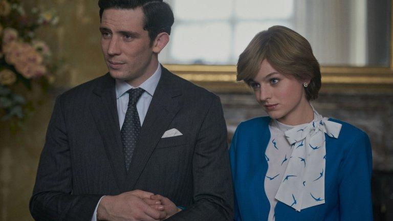 """The Crown - season 4 - Netflix  Четвъртият сезон на """"Короната"""" успя да привлече също огромни порции внимание, дори от страна на британското правителство, което помоли Netflix да припомня на зрителите, че все пак става дума само за сериал, а не за нещо с документална сойност. Основна причина за това е фактът, че за пръв път в този сезон беше показана и любимката на британците - принцеса Даяна, а като основна тема е представена тъжната история на брака ѝ с принц Чарлз."""