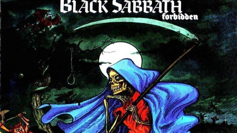 """Black Sabbath – Forbidden (1995)  Китаристът Тони Айоми признава, че този албум е """"тотална бъркотия"""" и публиката няма как да не се съгласи. Най-слабото издание на легендарните пионери на метъла е записано, когато те са в доста нестандартен състав. Единствено Айоми е наличен от оригиналната четворка, като на вокали е Тони Мартин, на бас - Нийл Мъри, а на барабаните - Кози Пауъл. За музикален продуцент е взет Ърни Си, китарист на рап метъл бандата Body Count, но неговото влияние също се оказва катастрофално. Black Sabbath зазвучават някак скромно и """"тънко"""", като на моменти даже напомнят на кръчмарска група. В една от песните пък се появява рапиращият гост вокал Айс-Ти. Forbidden определено е най-ниската точка за Black Sabbath, но две години по-късно завръщането на Ози Озборн възстановява легендарния статут на състава."""