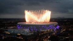 Стадионът на Тотнъм по време на официалното му откриване преди двубоя от Висшата лига срещу Кристъл Палас на 3 април 2019 г.