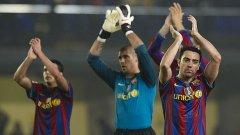 Футболистите на Барса се радват над победата над Виляреал, но са им нужни още три успеха, за да се радват и с титлата