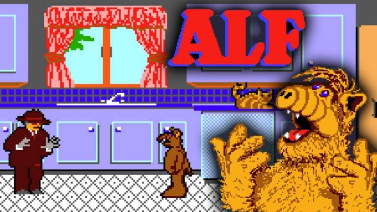 ALF (SEGA Master System)  Всички помним и обичаме Алф - за един период през 80-те години той беше най-популярното извънземно и Америка бе залята от всякакви плюшени играчки и сувенири с неговия лик. NBC знаеше, че има голям хит в лицето на устатия пришълец от Мелмак и закономерно се опита да превземе още една комерсиална територия - видеоигрите.  Лансирана като приключение с малко екшън, играта ALF ви поставя в ролята на неканения гост, който обикаля из къщата на семейство Танер в търсене на части за космическия си кораб. Дори тогава играта е критикувана за остарялата си графика и геймплея си, така че представете си как изглежда сега. Не е изненадващо, че тази космическа каша е единствената поява на ALF в света на гейминга.