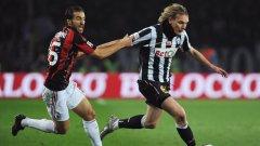 Милош Красич (в бяло-черно) не успя да помогне на Ювентус да спечели срещу Милан
