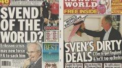 """Свен Горан Ериксон  Големия Сам не е първият мениджър на Англия, който бива сломен от чара на фалшив шейх, оказал се човек на пресата. Преди 10 години Свен Горан Ериксон падна в капана на известния мошеник от таблоида News of the World Мазер Махмуд, който се свърза с него, за да провери дали шведът би поел Астън Вила, ако клубът бъде купен от богати араби.   В записания разговор с """"шейха"""", Ериксон си развърза езика относно звезди като Дейвид Бекъм и Майкъл Оуен и заяви, че ще напуснe доброволно поста на национален селекционер, ако направи Англия световен шампион на предстоящото първенство (Мондиал 2006 в Германия). За щастие, Англия беше толкова зле на този турнир, че Ериксон не получи шанса да удържи на думата си. Година по-късно обаче той пое един друг английски клуб, купен от богати араби (Манчестър Сити)."""