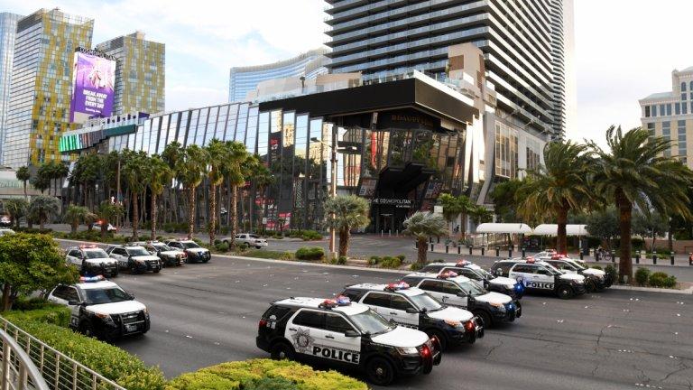 """Полицейски автомобили са блокирали булеварда """"Лас Вегас"""" в американската столица на хазарта по време на митинг на движението Black Lives Matter."""