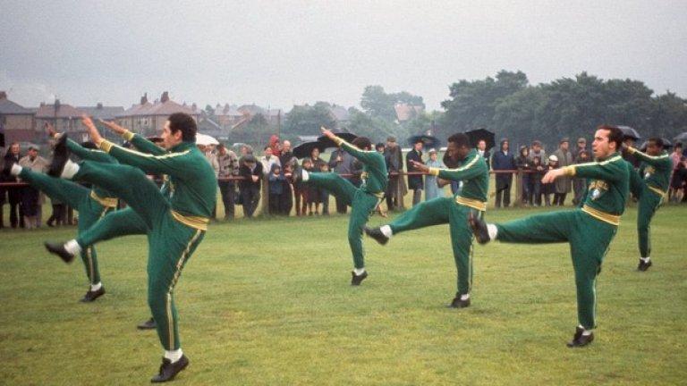 Тренировка на бразилския национален отбор по време на световното първенство в Англия през 1966 г.