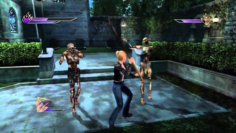 """Buffy The Vampire Slayer (XBOX)  Оригиналният XBOX се опитваше да се наложи като готината нова конзола за нахакани хлапета и какъв по-добър начин за това от ексклузивно приключение по популярния тогава сериал """"Бъфи, убийцата на вампири""""? Сюжетът на играта беше написан от сценаристи на сериала и лесно можеше да мине за епизод от самата поредица. Комбинацията от битки, пъзели и познатата атмосфера на Сънидейл доведе до доста успешна игра, която по-късно бе продължена с още две заглавия, този път за PS2/XBOX и DS."""