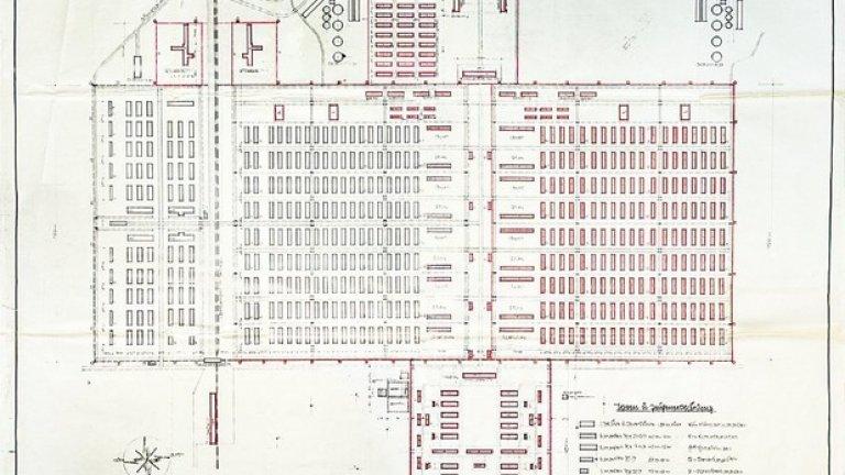 Този план на лагера от 6 октомври, 1942 г. е открит от историчката Сюзън Уилемс във военния архив е Прага.  Маркираните в червено места са по волята на министъра на въоръженията и военната промишленост Алберт Шпер, който е отпуснал за тяхното изграждане 14 милиона райхсмарки.