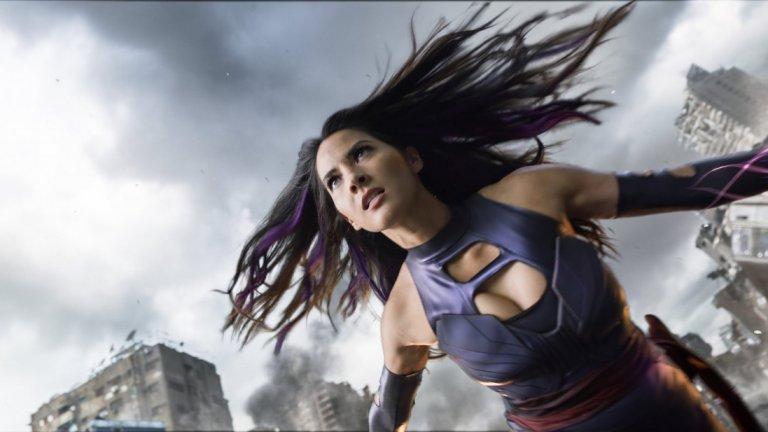 """10.Оливия Мун - Десетката се закрива от Оливия Мун, в ролята на героинята от комиксите Psyloche от """"X-men - Апокалипсис"""", лента от 2016, с режисьор - Браян Сингър."""