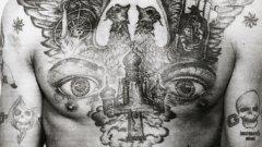 В галерията можете да видите уникални снимки на руски затворнически татуси и техните значения. Двуглавият орел е символ на руската царска власт още от XV век. Орелът се е използвал широко по времето на Петър Велики, но снимката е правена в епохата на Съветския съюз, когато символите на царската власт са абсолютно табу.Статуята на свободата пък указва тъга по свободата, а тъмната фигура с шапката издава, че затворникът е готов да използва насилие и дори да убива