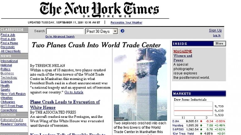 """Онлайн изданието на """"Ню Йорк Таймс"""" от една паметна дата - 11 септември 2001 г."""