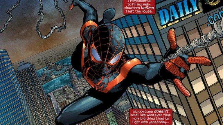 Първият латино Спайдърмен беше генетикът от наполовина мексикански произход Мигел О'Хара, появил се като персонаж още през 1993 г. Майлс Моралес играе Спайдърмен от 2011 г., поел отговорността след убийството на Питър Паркър в алтернативната Ultimate поредица на Marvel