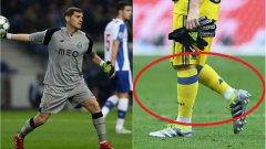 """Икер Касияс – играе с обърнати чорапи Вратарите се славят като най-суеверните във футбола. И в Реал, и в националния отбор на Испания, и сега в Порто Касияс носи чорапите си наобратно. Но това не е всичко. Бившият страж на """"кралете"""" докосва гредата при всеки гол в мача."""