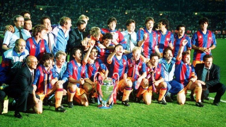 """Христо Стоичков е в отбора на Барселона при първия спечелен трофей от Шампионската лига. През 1992 г. каталунците побеждават Сампдория с 1:0 на """"Уембли""""."""