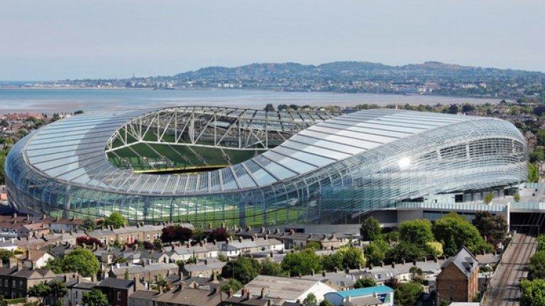 """""""Авива Стейдиъм"""" е стадион в Дъблин, на който ще има 3 срещи от груповата фаза и един от 1/16 – финалите."""
