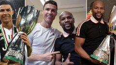 Мейуедър се появи в съблекалнята на Юве, за да поздрави Роналдо и съотборниците му.